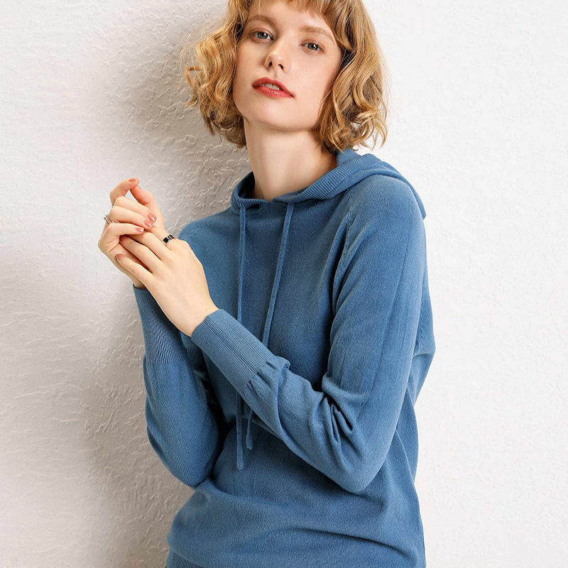 Thoshine Brand Spring Autumn Women Wool Sweaters Hooded Pullovers Knitted Hoodie Solid Color Knitwear Female Outerwear Jumpers