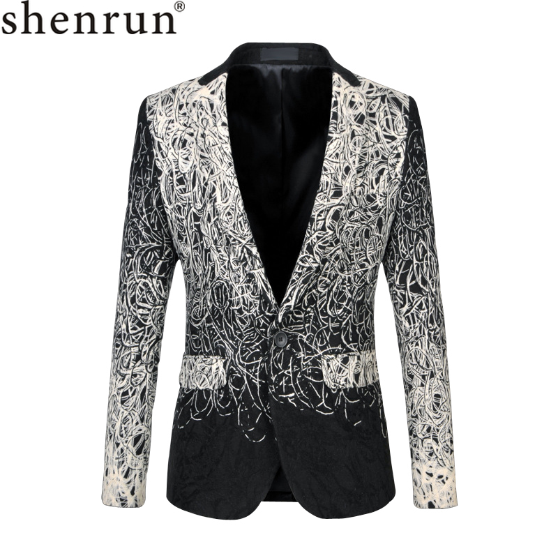 Shenrun Men Blazer Casual Fashion Suit Jacket Unique Luxury Classic Jackets Wedding Costumes Party Prom Stage 5XL 6XL Plus Size