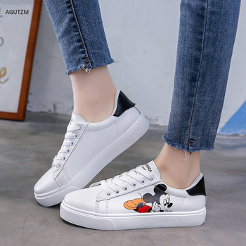 2020 spring new ins women Mickey printed white  sneakers tide flat bottom Casual shoes  Fashion Breathble Vulcanized Shoes h119