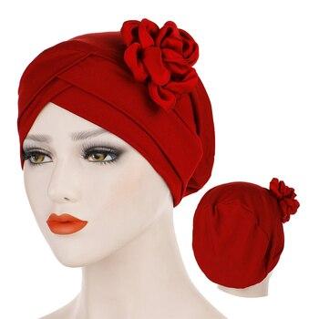 Islamic hijab bonnet solid cotton flowers turban caps ready to wear Inner hijabs head scarves for women femme musulman turbantes - discount item  15% OFF Muslim Fashion