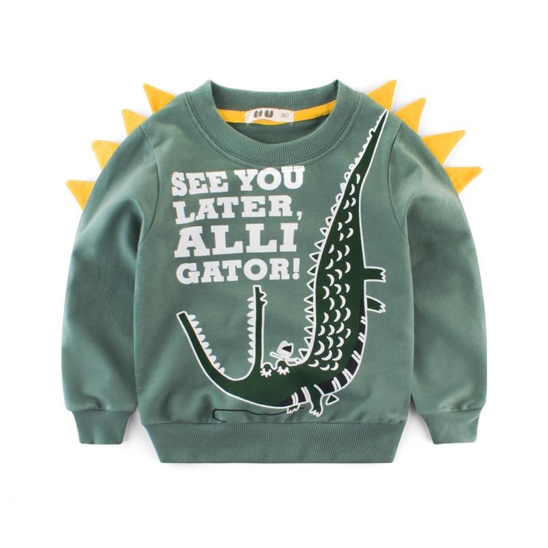 Boys Hoodies Kids Sweatshirt Toddler Girls Children Cotton Dinosaur Crocodile Cartoon Baby Tops Sweatshirts Winter Clothes  Full 2