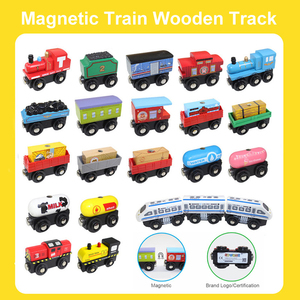 1pcs Magnetic Train Wood Railway Car Truck Wooden Train Track Accessories Variety Wooden Train Car Toys For Children Gifts