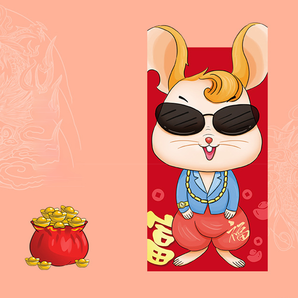 6pcs/set Traditional Wedding Chinese New Year Red Envelope Rat Pattern Money Pocket Gift Bag Cartoon Hong Bao Lucky Birthday
