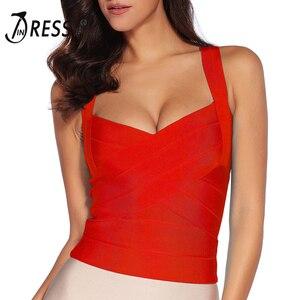Image 4 - INDRESSME Camiseta elástica con tirantes finos para mujer, ropa ajustada con cuello en V, sin mangas, 2020