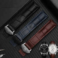 High Quality Genuine Leather Straps blue Black with red stitches bracelet 19 20 22mm for men watchband Wrist watch band
