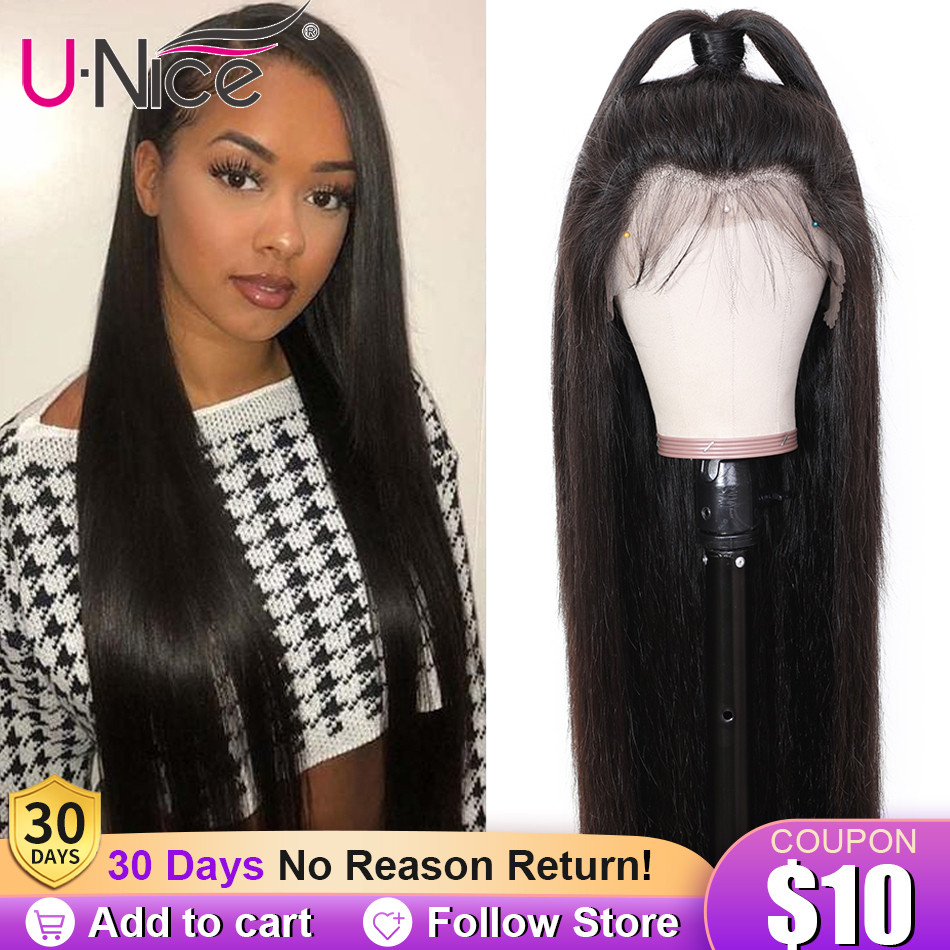 Unice Hair Human-Hair-Wig Lace-Front Glueless Pre-Plucked Remy Straight Women Brazilian
