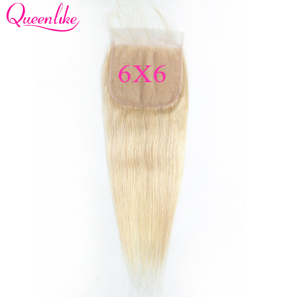Big 6x6 Lace Closure Blonde Color 613 Pre Plucked With Baby Hair Queenlike Brazilian Straight Remy Hair Closure
