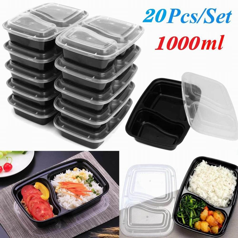 20pcs Reusable Lunch Boxes Microwavable Food Meal Storage Containers Containers with Lids Durable BPA Free Plastic Storage Case image