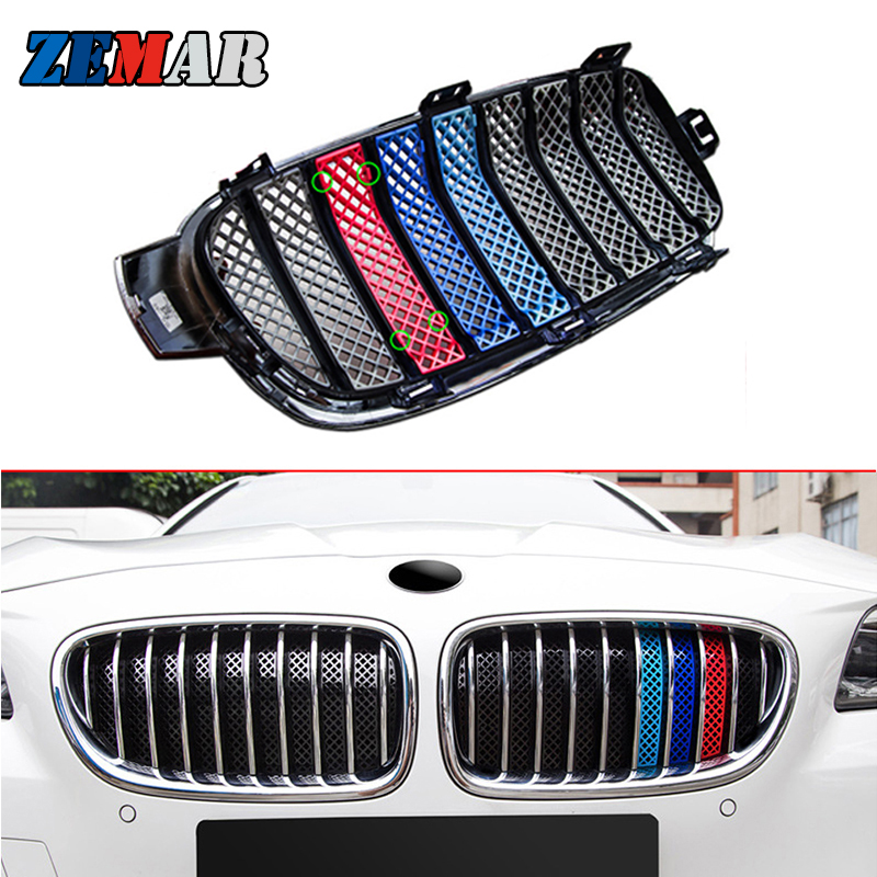 1set Anti-mosquito 3D Car Front <font><b>Grille</b></font> Trim Sport Strips Cover For BMW <font><b>F30</b></font> F10 F11 F31 3 5 Series M Performance Accessories image