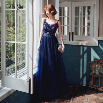 wei yin AE0174 Sparkle Sequined Evening Dresses 2020 Long A-Line V-neck Elegant  Evening Gowns Abendkleider