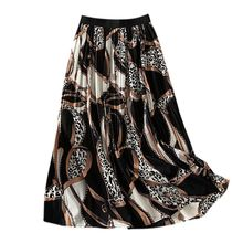 Women Spring Summer Skirt High Waist Print Maxi Skirts Womens Chiffon Skirt Maxi Skirts Femme Pleated Mid-Calf Skirts