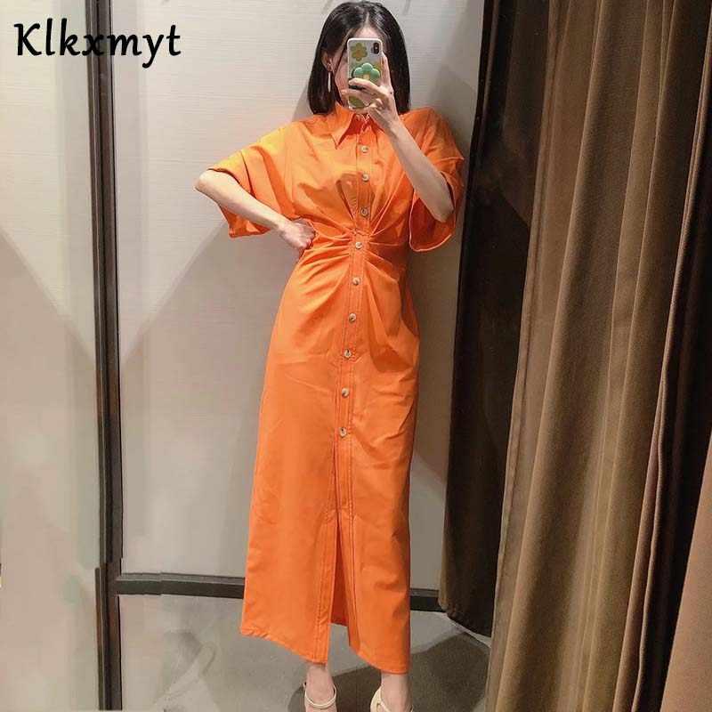Klkxmyt夏zaドレス女性ハイストリートヴィンテージプリントラペルひだパーティーvestidosデフィエスタ · デ · ノーチェvestidos