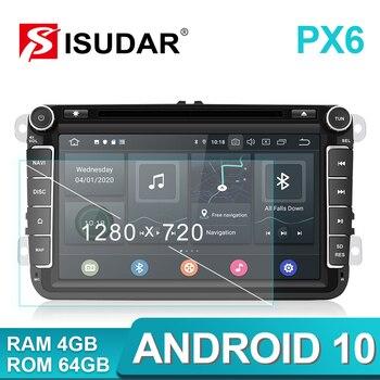 Isudar PX6 2 Din Android 10 Car Radio For Skoda/Seat/Volkswagen/VW/Passat b7/POLO/GOLF Auto Multimedia Player 1280*720P DVD GPS