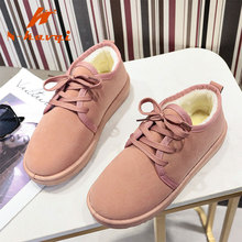 NKAVQI New Warm Winter Shoes For Women Flat Shoes Snow Girls Shoes Female Suede with Plush Insole Botas Mujer Fur Casual Boots