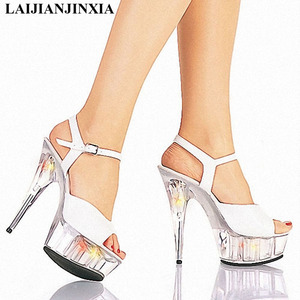 New Summer 15 CM High-Heeled Sandals Nightclub Pole Dancing Shoes Model Dance Shoes High Heels Sandals Women's Shoes