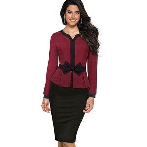 Image 3 - Nizza für immer Winter Elegante Kontrast Farbe Patchwork Büro Bogen vestidos mit Langarm Business Bodycon Frauen Kleid B554