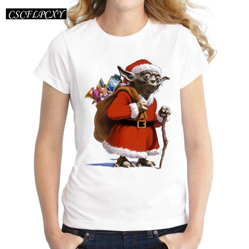 2017 القادمون الجدد النساء سانتا يودا المطبوعة تيشيرت بأكمام قصيرة عارضة عيد الميلاد T قميص بارد سيدة خمر قمم