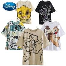 Disney Mickey Donald Ente Marie Katze Skizze SIMBA Cartoon Cartoon Druck Frauen T-Shirt Oansatz Kurzarm Frauen T Tops Weibliche