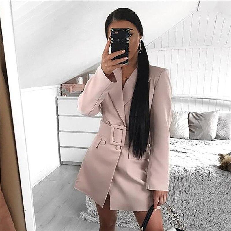 2019 Fashion Casual Blazer Women Coat Elegant Blazer Long Sleeve Jacket Outwear Ladies Black Pink Blazer Female Coat