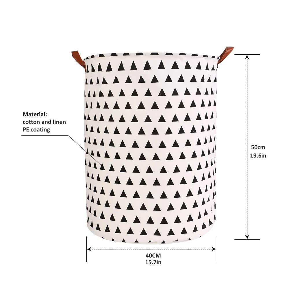 1 pçs dobrável cesta de lavanderia redonda armazenamento bin grande cesta dobrável roupas de brinquedo à prova dwaterproof água lavanderia titular organizador