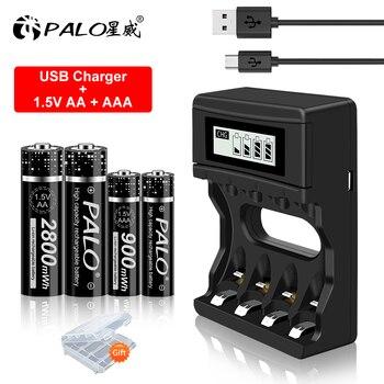 PALO 1.5V AA Lithium-ion Rechargeable Battery+1.5V AAA Li-ion Rechargeable Batteries and 1.5V Li-ion Battery Charger environmental original mindray li24i002a 5800mah 14 8v rechargeable lithium ion battery