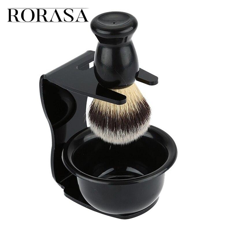 RORASA Men's Drip Shaving Acrylic Stand Holder Wet Shaving Beard Brush Bowl Razor Stand Barber Tool Black Salon Shaving Tools