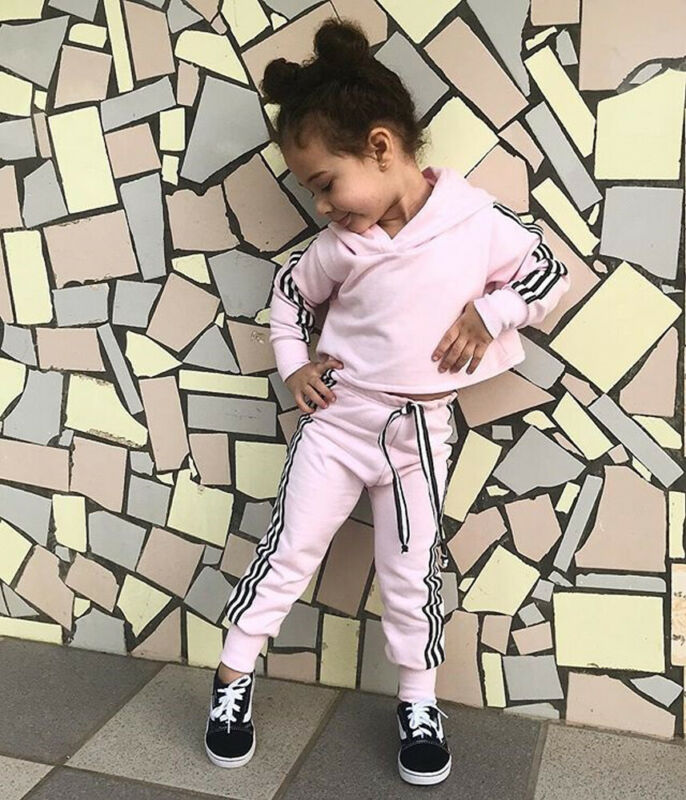 Toddler Baby Girl Clothes Long Sleeve Autumn Hoodie Tops + Stripe Pants Outfits Tracksuit Sports Jumpsuit Clothes