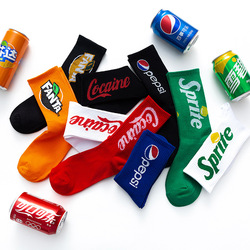 2020 men's and women's stockings summer street sports Sprite basketball socks Cola mid-length fashion socks 5 pairs/piece