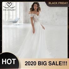 Swanskirt恋人のレースのウェディングドレス2020ロマンチックなアップリケaライン肩の王女の花嫁衣装vestidoデ · ノビアNR06