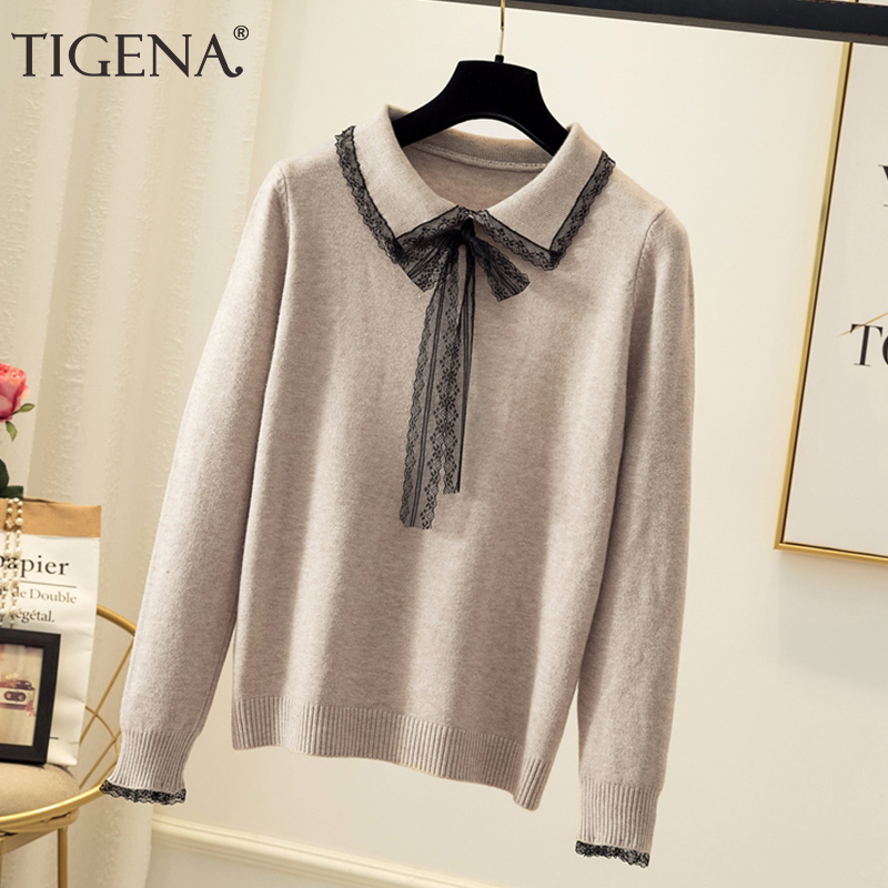 TIGENA Women Sweaters And Pullovers 2019 Autumn Winter Korwan Kawaii Cute Lace Turn-down Collar Knit Sweater Fmeale Jumper Women