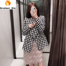 Fashion Houndstooth Blazer Women Elegant Tweed Coat Casual Double Breasted Suit