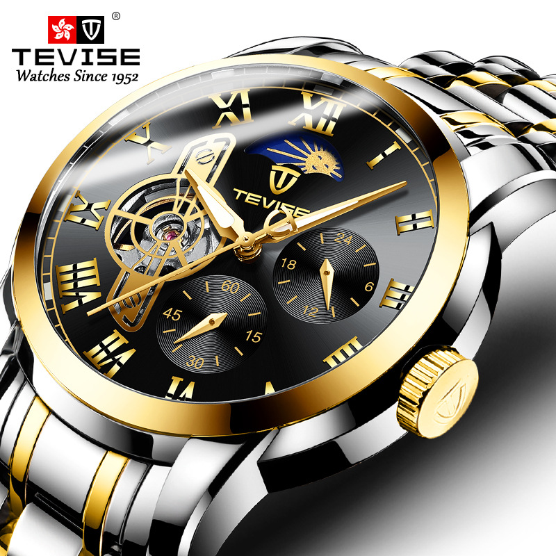 Man Watches 2019 Brand Luxury TEVISE 9005B Automatic Luminous Clock Men Tourbillon Waterproof Moon Phase Mechanical Watch Man
