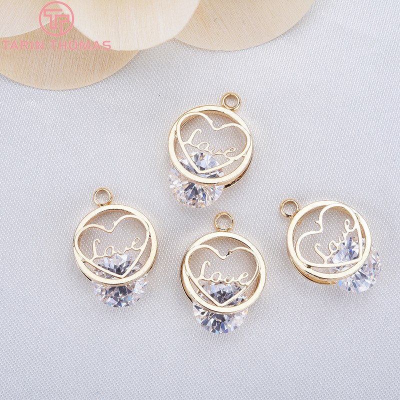 4PCS 12MM 24K Champagne Gold Color Plated Brass with Zircon Heart Charms Pendants High Quality Diy Jewelry Accessories