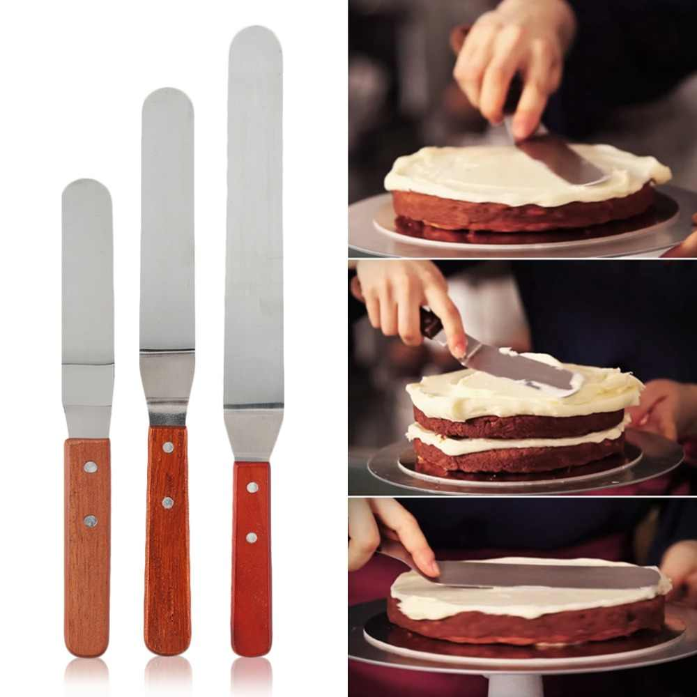 6/8/10 Inch Stainless Steel Butter Cake Cream Knife Spatula Wooden Handle Kitchen Smoother Spreader Fondant Pastry Cake Decor