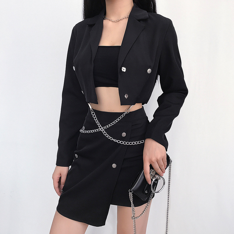 2020 Autumn Women's Crop Blazers Harajuku Chic Chain Long Sleeve Notched Casual Blazers Girls Punk Streetwear Coats Blazer