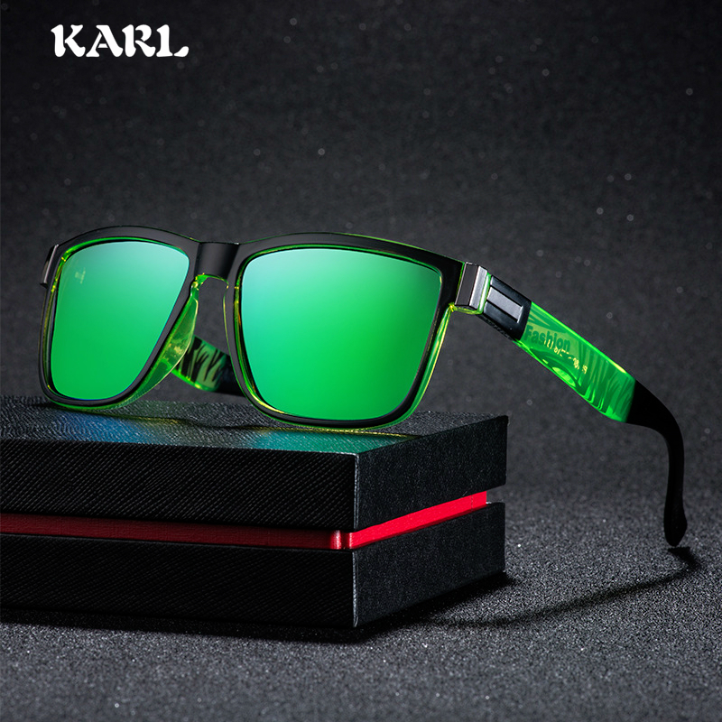 Vintage Polarized Sunglasses Men Driving Square Sun Glasses Black Goggles Shades for Women Blue Green and Yellow Coating Lens in Men 39 s Sunglasses from Apparel Accessories