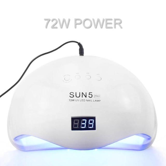 72 w conduziu o secador uv do prego da lâmpada do prego sun5 pro para todos os géis 36 leds sol luz dois mão lâmpada 30/60/90 s gel seco polimento