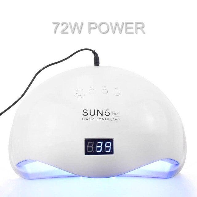 72W LED Nail Lamp UV Lamp Nail dryer SUN5 PRO for All Nail Gels 36 LEDs Sun light Two hand lamp 30/60/90S Dry Gel Polishing