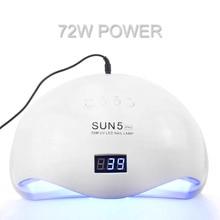 72W LED tırnak lambası UV lamba tırnak kurutucu SUN5 PRO tırnak jelleri 36 LEDs güneş ışığı iki el lambası 30/60/90S kuru jel parlatma