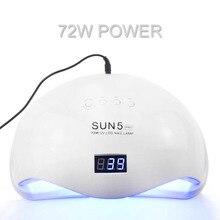 72W lampa UV do paznokci UV lampa do suszenia paznokci SUN5 PRO dla wszystkich żeli do paznokci 36 diod led światło słoneczne dwóch lampa ręczna 30/60/90S suchy żel do polerowania
