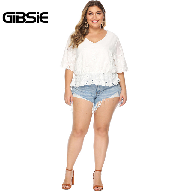 GIBSIE Plus Size Hollow Out Embroidery White Blouse Women's Summer Cotton Peplum Tops V-Neck Half Sleeve Casual Ladies Shirts 5