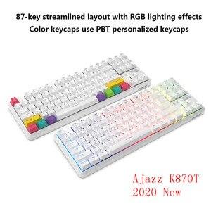 Ajazz K870T 87 клавиш Bluetooth Проводная/Беспроводная механическая клавиатура для геймеров ПК ноутбук планшет ноутбук с RGB подсветкой Тип C