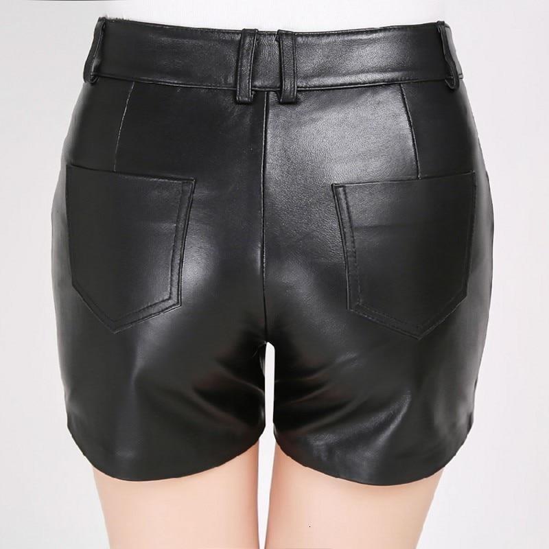 Fashion New Women Sheepskin Genuine Leather Shorts Top Quality Zipper Fly Back Pockets Button Waist Straight Female Modis Shorts