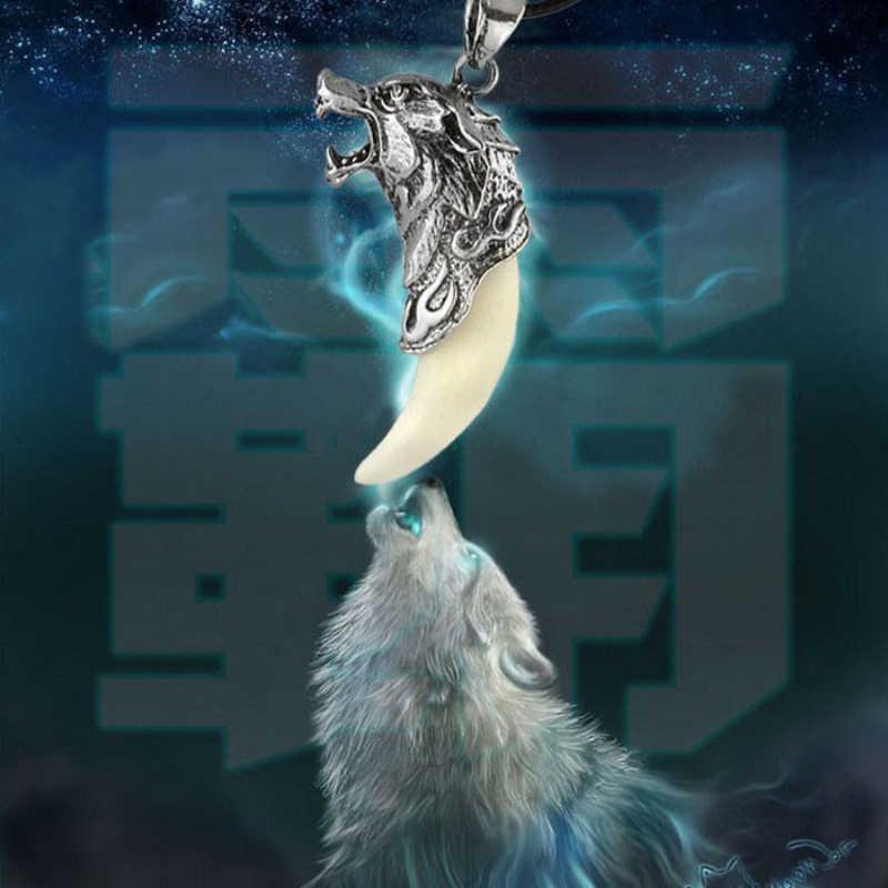 Neue Mann Wolf Zahn Halskette Titan Stahl Anhänger Schmuck Domineering Fangtooth Amulett Anhänger Wolf Zahn Männlichen Halskette Geschenke