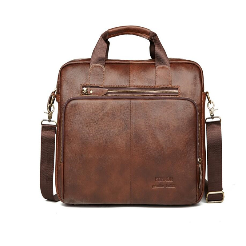 Genuine Leather Men Briefcase Oil Wax Leather Retro Business Computer Bag Fashion Shoulder Messenger Bag Zipper Postman Handbags