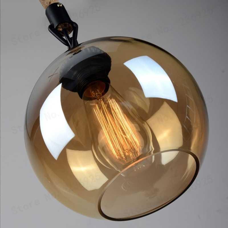 Wonderland Ретро винтажный светодиодный Янтарный стеклянный подвесной светильник пеньковая веревка лампа покрытая подвеской Лофт кухня гостиная спальня гостиничный зал