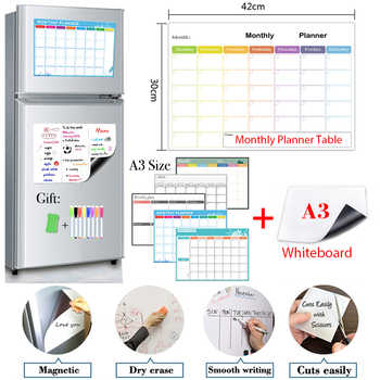 Monthly Weekly Planner and Whiteboard 2PCS A3 Size Magnetic Dry Erase Fridge Sticker Calendar Table Recipe Plan Message Board - DISCOUNT ITEM  51 OFF All Category