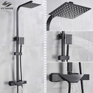 Image 1 - Bathroom Faucet Black Rain Shower Head Thermostatic Bath Faucet Wall Mounted Bathtub Shower Mixer Tap Shower Faucet Shower Set