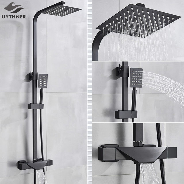 Bathroom Faucet Black Rain Shower Head Thermostatic Bath Faucet Wall Mounted Bathtub Shower Mixer Tap Shower Faucet Shower Set