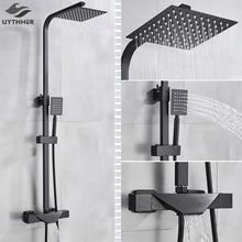 Grifo termostático de pared de ducha para baño, mezclador de bañera tipo lluvia, con cabezal negro